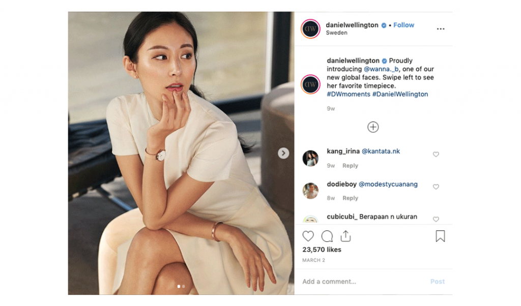 Daniel Wellington Ambassador Instagram Post